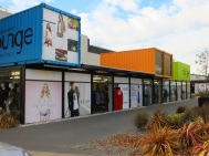 Shipping container shopping district in Christchurch